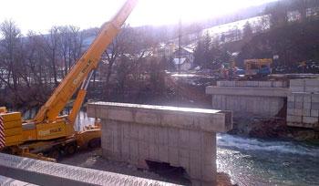 Izgradnja mosta br. 409 preko rijeke Vrbas u Karanovcu